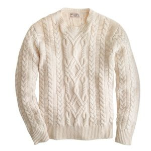 Wallace and Barnes cream cable knit crew sweater